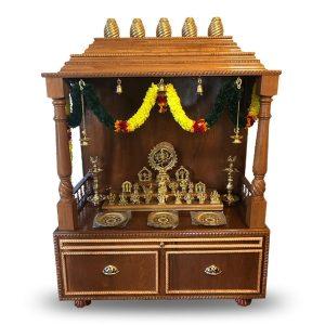 "48"" Custom Wooden Pooja Mandir- Amber"